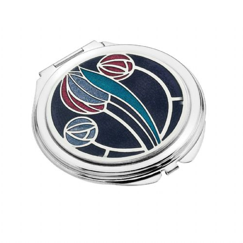 Compact Mirror Silver Plated Mackintosh Tulip Handbag Magnifying Travel Cosmetic